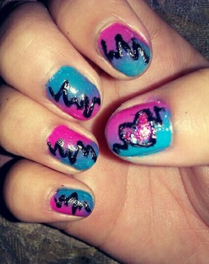 blue and pink color gradient with heartbeat lines and glitter heart! :)
