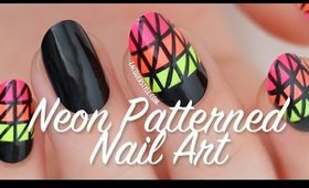 Graphic Neon Patterned Nail Art | Lacquerstyle