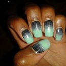 Turquoise gradient nails