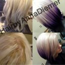 Hair transformation by me from yellow and green to white and purple