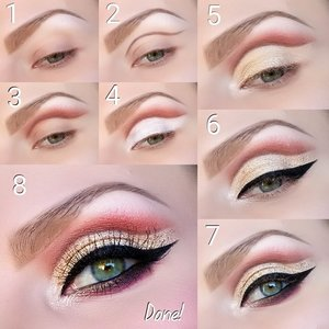 1. Prime the eyelids with Urban Decay's eyeshadow primer potion. Highlight under the eyebrows with Tempera.  2. Line the crease using Urban Decay's 24/7 glide-on eyepencil in West.  3. Blend in Antique Bronze right over the pencil line and blend out well. Then slightely over the brown blend in Realgar.  4. Over the mobile eyelid apply NYX Jumbo Eye Pencil in Milk.  5. Over it apply Primavera and in the inner corner of the eye apply Vermeer.  6. Apply Urban Decay's Heavy Metal Glitter Eyeliner in Baked over the whole mobile eyelid. Then apply Inglot's AMC Eyeliner Gel 77 and make a wing.  7. Line upper and lower waterline with Inglot's AMC Eyeliner Gel 77 and apply it also along the outer part under the lower lashline. Then blend in Cyprus Umber along the lower lashline. Right under Cyprus Umber blend in Love Letter.  8. Apply Armani's Black Ecstasy Mascara and put on Red Cherry's eyelashes WSP.