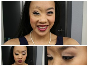 I am in a marketing class, Branding and Promotions, and we get to work with a nonprofit organization and create a promotional campaign for them. This is the look that I did the day of our client brief. In the past few years, I have developed a strong love for neutral (or mostly neutral) eyes and a bolder lip. That is what this look is. It's simple, classy, and professional. Because the eyeshadows are all matte and the lipstick is a grown-up, pink plum with a satin finish, it looks strong and mature without being too overpowering.  For other products not listed here, check out my blog, theartofawkward96.blogspot.com