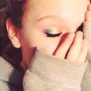 Rainbow eye look!