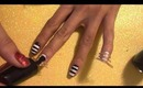 Super Easy Black and White Striped Nails Tutorial