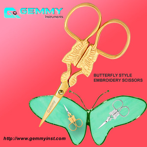 Manufacturers and Exporters of All kinds of Fancy ( Embroidery Scissors ) such as stork scissor, cock scissor, butterfly scissor, swan scissor, cat scissor, sea horse scissor, squirrel scissor, Peacock scissor, Fancy cuticle scissor, rabbit scissor, floral scissor, regal scissor, turkish scissor, detailed classic scissor, egyptian scissor,