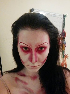 Testing this look for my mum, her request was to still look feminine but wanted to still look scary/creepy.  Have some thing I want to change - but the later pics show that it looks pretty nice with a filter - have to make it look better in person.  Used:  - Mehron Paradise (red, white) - NYX Red lip liner (for the eye liner) - Annabelle matte shadow (black for contour)