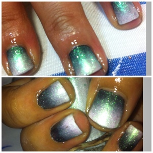 1.Eyeshadow sponge dipped with black glitter polish & white 2.two coats of the black & white 3.Sheer holographic glitter nails to add more vibrant