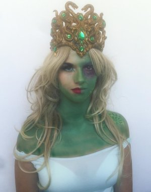 "I did this makeup for an assessment for the Diploma Of Screen And Media. The assessment required me to create a ""mythical creature"" through the use of makeup and the theme we were given was greek gods and goddesses. I chose to do Medusa and I chose to do the part where she is slowly changing from a beautiful fair haired maiden into a hideous monster."