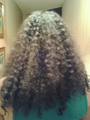 this is her hair before we applied any treatment products.