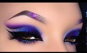 Sexy Arabic Spring Blue & Purple Cut Crease Makeup Tutorial
