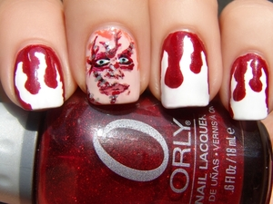 Done for an ABC Challenge. One of my favorite horror-ish movies is the Bride of Chucky. http://spellboundnails.blogspot.com/2012/09/c-is-for.html