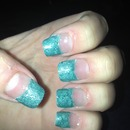 first attempt at my own acrylic glitter nails!