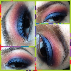 Dark blue from Elf palette,transition colour from blushes