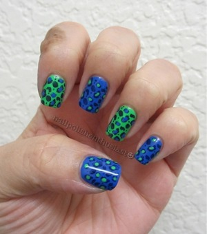 Sally Hansen Xtreme Wear Pacific Blue, China Glaze In The Lime Light, Tip Toe Navy and Konad Plate m57