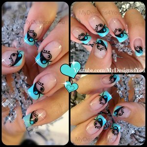 Valentine's Day Nail Art | Blue and Black French