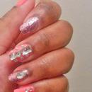 Pink Bling Nails.