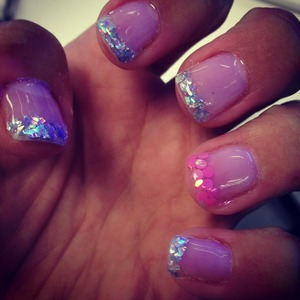 Gel nails with holograph tips! #cosmetology #gel #nails #opi