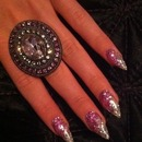 Pink and white glitter gel nails
