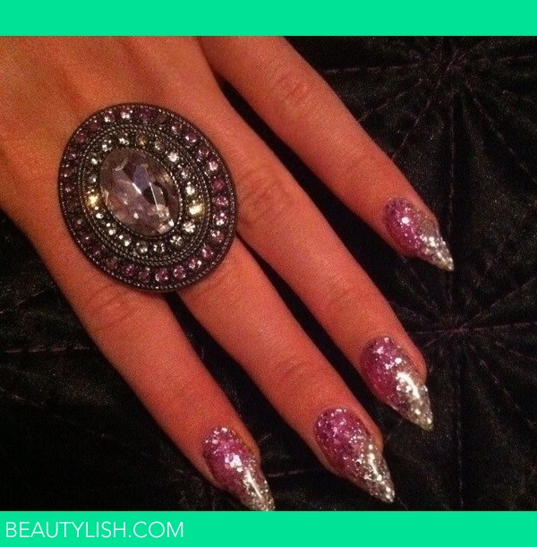 Pink And White Glitter Gel Nails Kirsty Hs Photo Beautylish