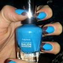 bright blue and chocolate tip french mani