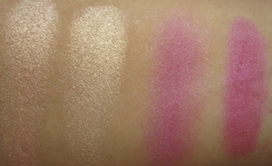 Eyeshadow Swatches  from left to right: Flow, Vanilla, Tainted + Junkshow, Junkshow