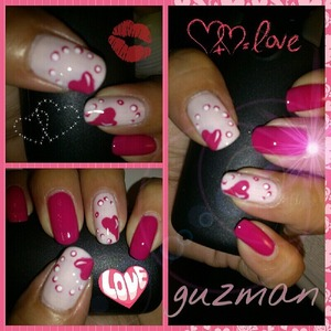 Pink from Sephora with some hand painted hearts using acrylic paints in pink berry