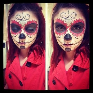 My attempt at the famous Sugar Skull *Day of the Dead Look*  *Done with make up not PAINT*