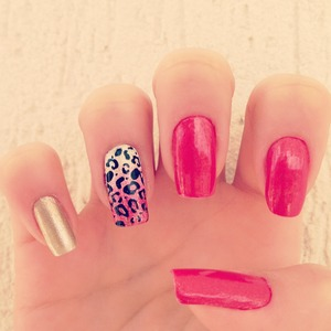 Leopard Red n' Gold Nails