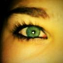 Blue eyes and black eyeliner.