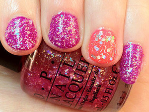 I felt like something bright on my nails, so came up with this pink and purple manicure with glitter a plenty.