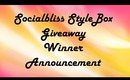 Socialbliss StyleBox Giveaway WINNER Annoncement