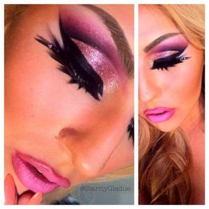 Eye products used: MAC 'pink' glitter, MAC 'carbon' eyeshadow, Sugarpill 'poison plum', and Act 5 Cosmetics black hybrid gel liner.  Facebook: Makeup by Starrly Instagram/Twitter: @StarrlyGladue
