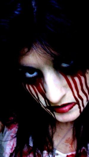 Halloween Desire Pale white foundation Dark eye effect Fake blood