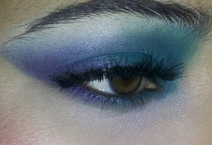 Green and blue look for party.