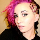 Pink bangs with leopard sidecut