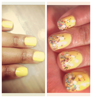 Not sure why but I really wanted yellow nails for my birthday. I had the day off so I treated myself to a mani/pedi and had the most horrible experience getting the polish on. Urgh! Anyhow, 3 re-polishes later I finally left the nail salon with the plain yellow nails. Then when I got home I added some glitter & white dots - just seemed more birthday appropriate!