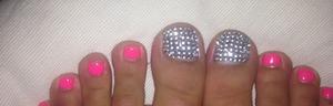 Pink gel nails Crystal toes