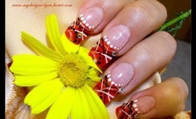 Abstract, Orange French Nail Art Design Tutorial - ♥ MyDesigns4You ♥