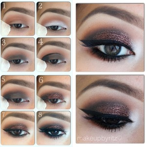 Steps to achieve yesterday's eye makeup 😊  ➡ Before starting, prime your lids and apply tape at the end of your eyes for a clean edge⬅  1⃣ Sweep MAC's brown (orangey brown)  script all over the crease 2⃣ Apply NYX jumbo shadow stick in milk (white) on the lid  3⃣ Pat MAC's espresso (cool dark brown)  on top of the white base 4⃣ Use a black eyeliner to draw into the crease and darken the outer V 5⃣ Blend and add MAC's carbon (black) on top of the eyeliner  6⃣ Add a dark bronze glitter on top of the lid. This one is from hobbylobby. (I used too faced glitter glue before this step) 7⃣ Apply top and bottom liner 8⃣ Add mascara, lashes and smoke out the lower lash line. Lashes are #pixieluxe from @houseoflashes  Hope you enjoy 😘