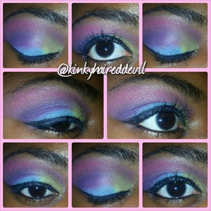 A cute and simple cotton candy look I created with my coastal scents 252 palette.