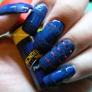 MAC / CIATé  BLUE VELVET MANICURE WITH FUSCHIA  TAPE  FOIL