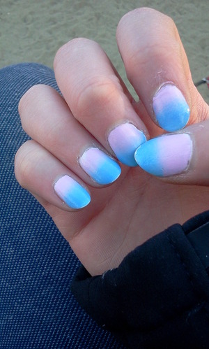 "Using NYX Girls Nail polish in ""White"" as a base colour + white, blue and pink acrylic paint and OPI top coat."