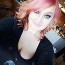 Freshly dyed pink hair.