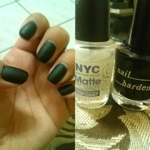 Im loving this nail combo. Brucci Nail Polish in Black & Blue with NYC Matte Me Crazy.