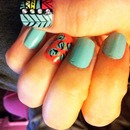 Tribal and Floral print nails