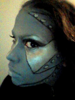 Halloween makeup - Tin Girl done with face paint, eye shadow, and liquid eyeliner