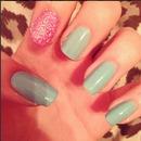 Pastel Green, Glitter Nails.