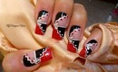 Red, Black and White, Wavy Nail Art Design Tutorial - ♥ MyDesigns4You ♥