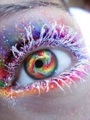 mascara: white contacts: rainbow swirl  eye makeup: rainbow stripes