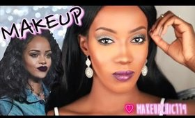 Rihanna Makeup Tutorial ✧ Soft Eyes + Bold Purple Lips